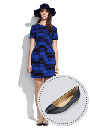 Striped dress and black ballet flats