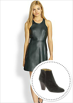 Faux leather dress and grey suede ankle boots