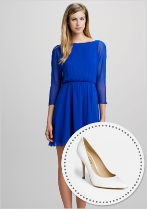 Dolman sleeve dress and almond toe pumps