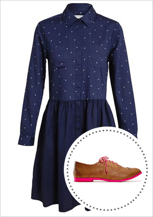 Chambray dress and tan oxfords