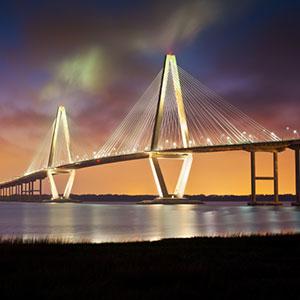 Suspension bridge in Charleston, South Carolina