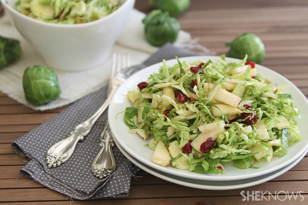 Chopped brussels sprouts salad with cranberries & apples