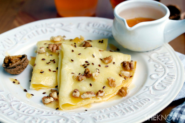 Crepes with Brie, walnuts & honey