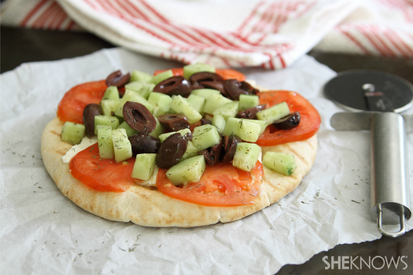 Greek salad grilled pita pizzas