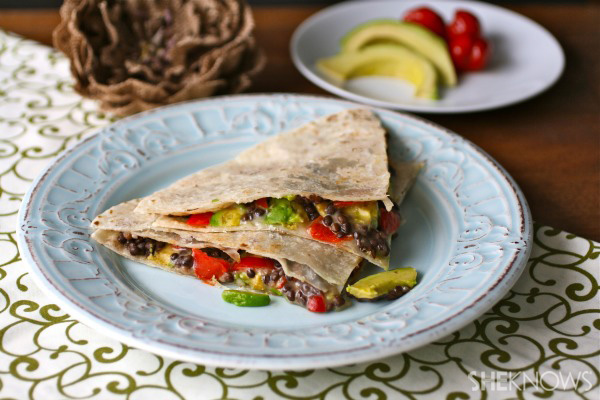 ... Monday: Black lentil, sweet pepper, Havarti, and avocado quesadillas