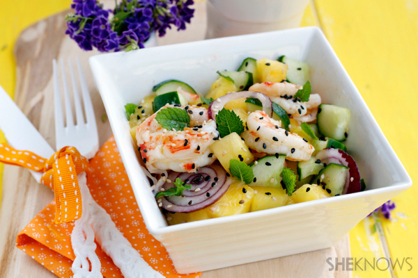 Pineapple, shrimp & cucumber salad