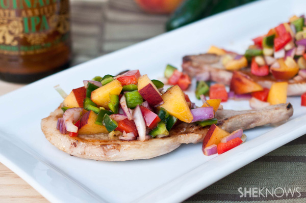 Beer-marinated pork chops with peach salsa