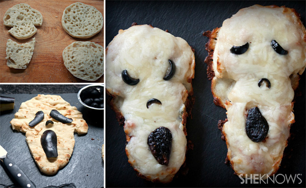 Mini scream face pizzas