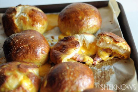 ham and cheddar stuffed pretzel rolls