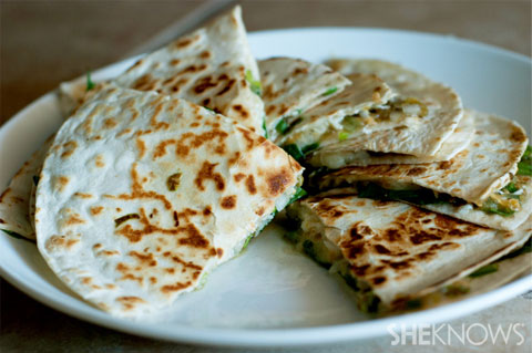 These quesadillas are loaded with earth mushrooms, fresh baby spinach ...