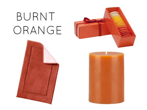 bathroom accents in the warmest fall hues