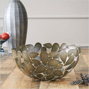 Metal leaf decorative bowl