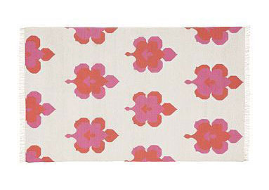 Coral and pink printed rug