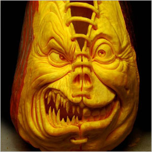 Pumpkin carved using an angle grinder