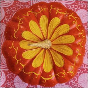 flower carved pumpkin with a speedball linoleum cutters