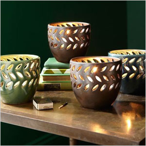 Pierced ceramic candle holders