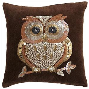 Owl sequin pillow