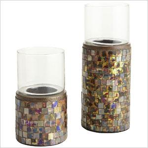 Amber mosaic tea light holders