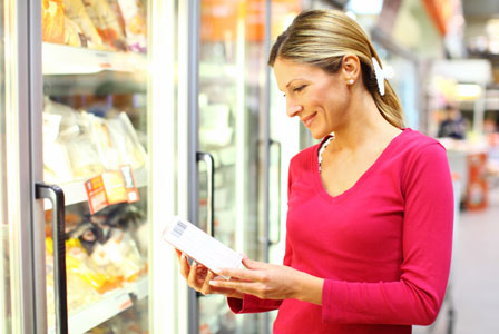 Woman shopping for frozen foods