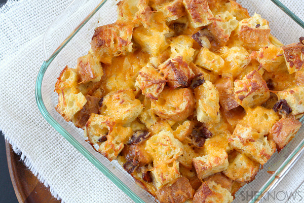 Bacon cheese bread pudding