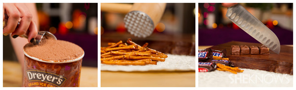 Snickers pretzel milkshake: Step 1a