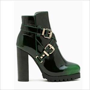 Mercer green patent boot