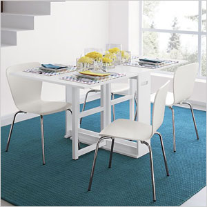 Crate and Barrel white dining table