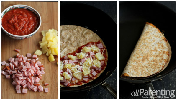 Hawaiian pizza quesadilla prep collage