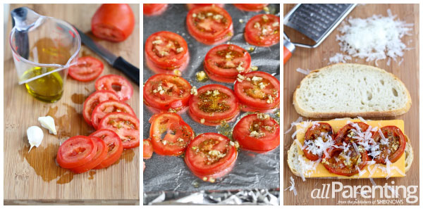 Roasted tomato & grilled cheese sandwich prep collage