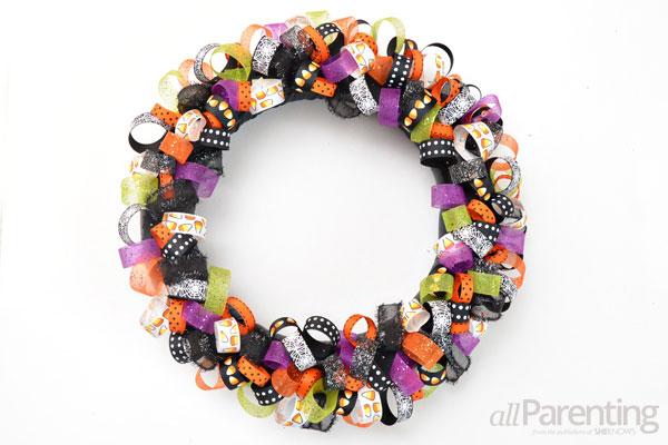 Halloween ribbon wreath step 6