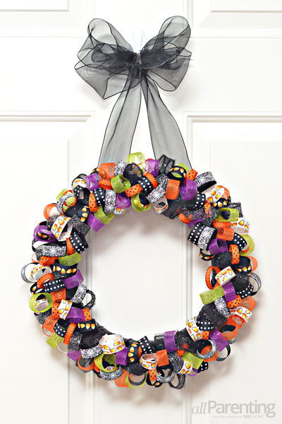allParenting Halloween ribbon wreath
