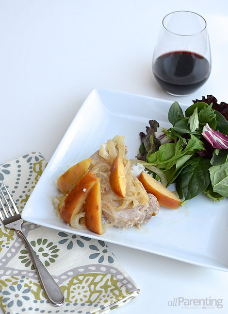 allParenting slow cooker pork chops with apples and mustard sauce