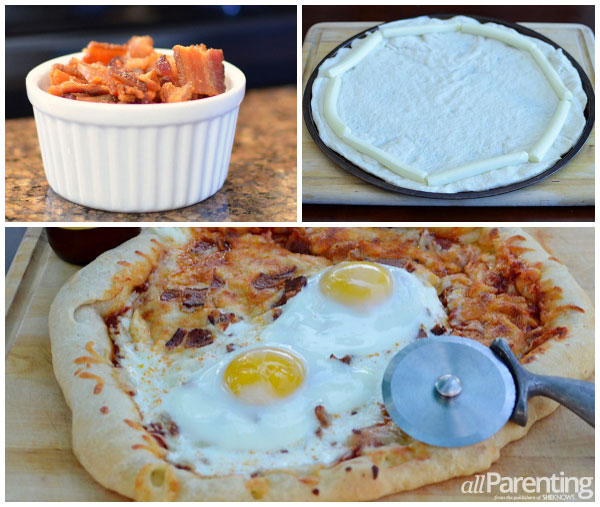 Bacon and egg cheesy crust pizza prep collage