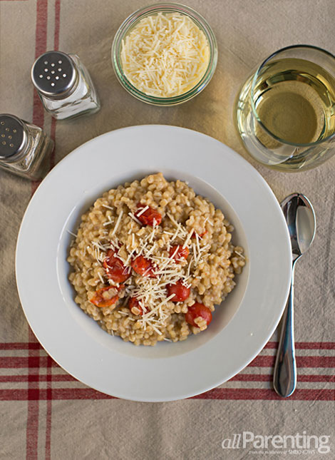 allParenting Barley risotto with cherry tomatoes and asiago cheese