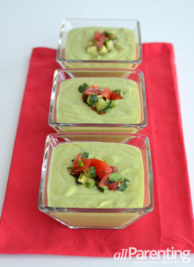 avocado recipes: avocado soup with tomato salsa