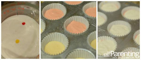 candy corn cupcakes prep