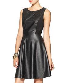 Fal leather details- Ark & Co. Vegan Leather Cutout Dress