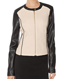 Fal leather details- Faux Leather Sleeve Jacket