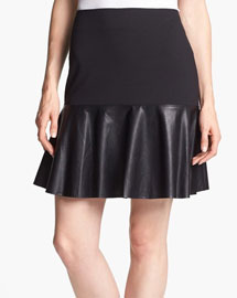 Fal leather details- Halogen Faux Leather & Ponte Flared Skirt