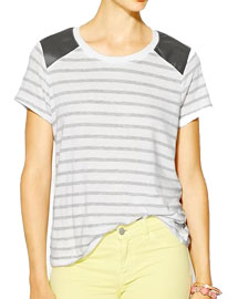 Fal leather details- Michael Stars Stripe Leather Detail Tee