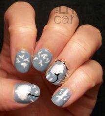 Fall nail art: Dandelion nails