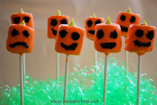 Mess for Less Halloween treats- Pumpkin pops