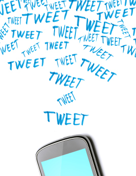 phone with tweets graphics