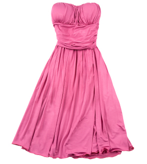isolated pink formal strapless dress