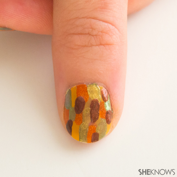 Abstract fall leaves nail design | Sheknows.com -- brown spots