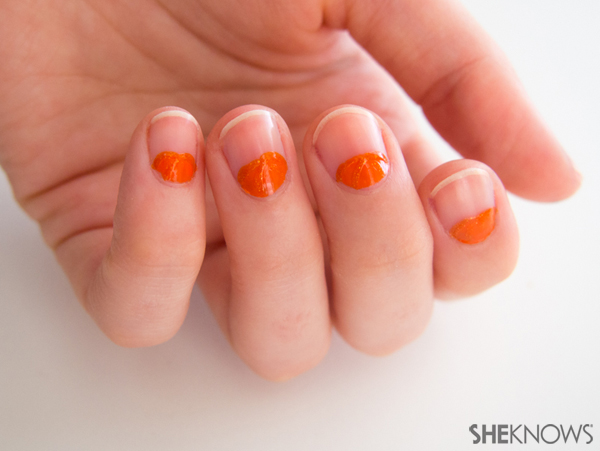 Peeking pumpkin nail design | Sheknows.com -- base