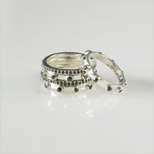 black diamond rosary ring