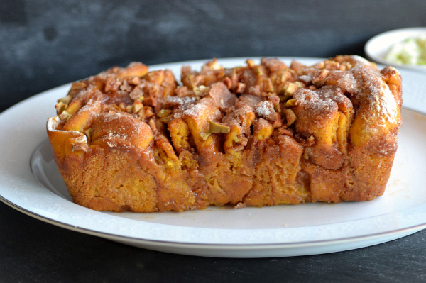Caramel pumpkin apple pull-apart bread