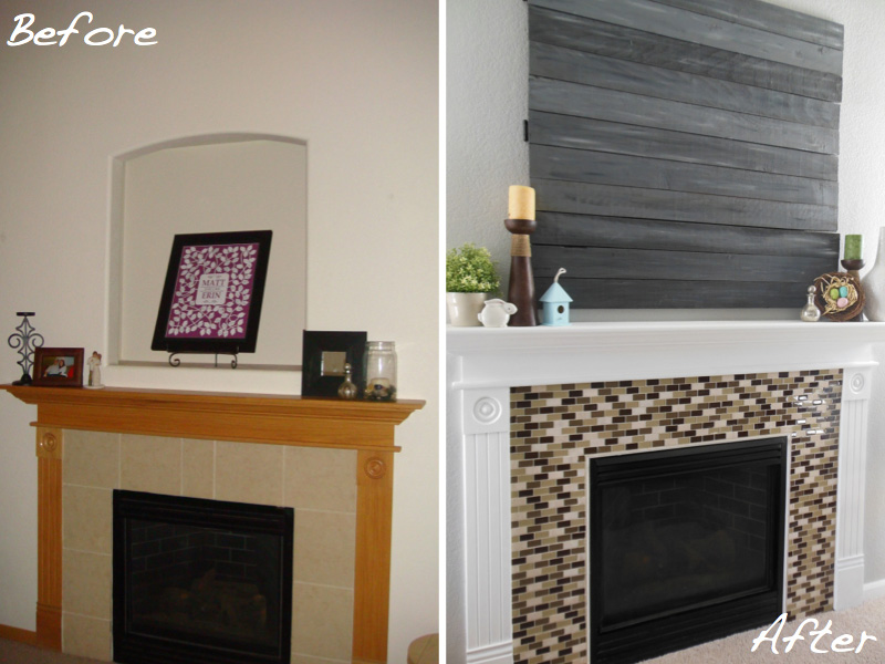 Diy Fireplace Surround Glass Tile