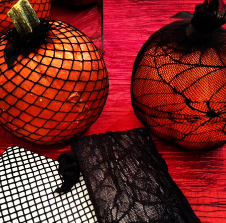 Fishnet stocking pumpkins